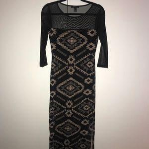 Black Tribal Maxi Dress